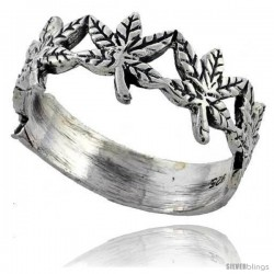 Sterling Silver Pot Leaf Ring 3/8 wide