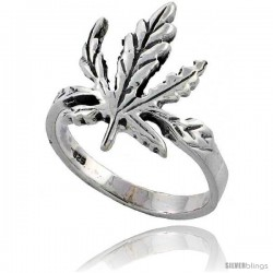 Sterling Silver Large Pot Leaf Ring