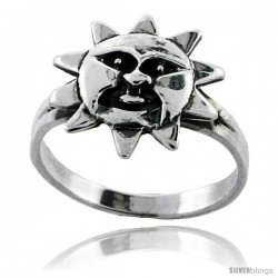 Sterling Silver Sun Ring 7/16 in wide