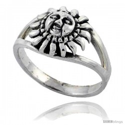 Sterling Silver Sun Ring 3/8 wide