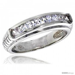 Highest Quality Sterling Silver 1/4 in (6 mm) wide Wedding Band, Brilliant Cut CZ Stones -Style Rcz489