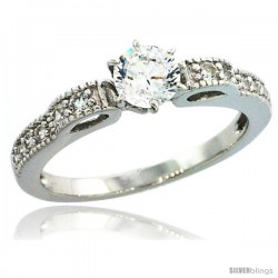 Sterling Silver Vintage Style Solitaire Engagement Ring Set w/ Brilliant Cut CZ Stones, 1/4 in. (6 mm) wide