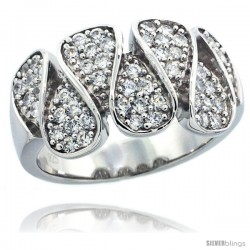 Sterling Silver Teardrop Ring w/ Brilliant Cut CZ Stones, 7/16 in. (11 mm) wide