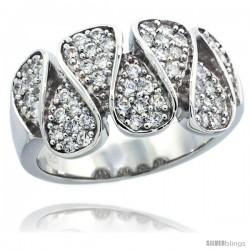 Sterling Silver Teardrop Ring w/ Brilliant Cut CZ Stones, 7/16 in. (11 mm) wide