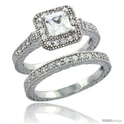 Sterling Silver Vintage Style 2-Pc. Square Engagement Ring Set w/ Princess (5 mm) & Brilliant Cut CZ Stones, 3/8 in. (10 mm)
