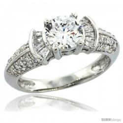 Sterling Silver Vintage Style Solitaire Engagement Ring w/ Baguette & Brilliant Cut CZ Stones, 1/4 in. (6.5 mm) wide