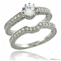 Sterling Silver Vintage Style 2-Pc. Engagement Ring Set w/ Brilliant Cut CZ Stones, 1/4 in. (6 mm) wide -Style Lr00596a