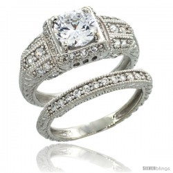Sterling Silver Vintage Style 2-Pc. Engagement Ring Set w/ Brilliant Cut CZ Stones, 11/32 in. (9 mm) wide
