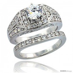 Sterling Silver Vintage Style 2-Pc. Engagement Ring Set w/ Brilliant Cut CZ Stones, 3/8 in. (10 mm) wide