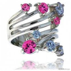 Highest Quality Sterling Silver 1 in (24 mm) wide Right Hand Ring, Brilliant Cut Amethyst & Pink Tourmaline-colored CZ Stones