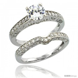 Sterling Silver Vintage Style 2-Pc. Engagement Ring Set w/ Brilliant Cut CZ Stones, 1/4 in. (6 mm) wide -Style Lr00668a