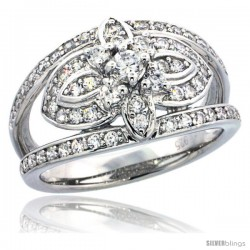 Sterling Silver Vintage Style Floral Cut Out Ring w/ Brilliant Cut CZ Stones, 1/2 in. (12 mm) wide
