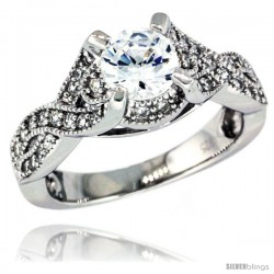 Sterling Silver Vintage Style Loop Knot Solitaire Engagement Ring w/ Brilliant Cut CZ Stones, 5/16 in. (8 mm) wide