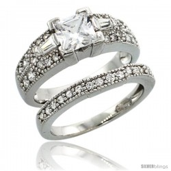 Sterling Silver Vintage Style 2-Pc. Square Engagement Ring Set w/ Princess (6 mm) & Brilliant Cut CZ Stones, 9/32 in. (7.5 mm)