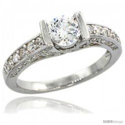 Sterling Silver Vintage Style Solitaire Engagement Ring w/ Brilliant Cut CZ Stones, 7/32 in. (5.5 mm) wide