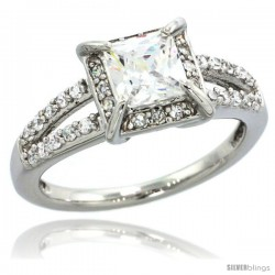 Sterling Silver Vintage Style Square Solitaire Engagement Ring w/ Princess (5.5 mm) & Brilliant Cut CZ Stones, 11/32 in. (9 mm)