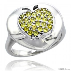 Sterling Silver Apple on Heart Ring w/ Yellow Topaz Color Brilliant Cut CZ Stones, 5/8 in. (16 mm) wide
