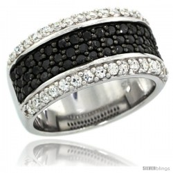 Sterling Silver Classic Black & White CZ Ring Band, 3/8 in. (10 mm) wide