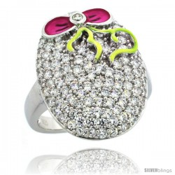 Sterling Silver Pink Ribbon Lace on Oval Ring w/ Brilliant Cut CZ Stones, 13/16 in. (21 mm) wide