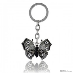 "Large Butterfly Key Chain, Key Ring, Key Holder, Key Tag, Key Fob, w/ Clear & Black Swarovski Crystals, 3-1/2"" tall"