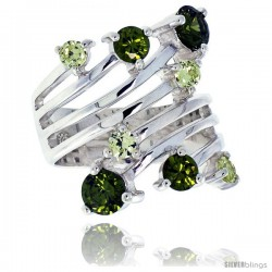 Highest Quality Sterling Silver 1 in (24 mm) wide Right Hand Ring, Brilliant Cut Peridot-colored CZ Stones