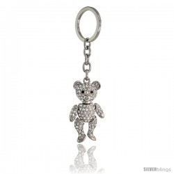 Movable Teddy Bear Key Chain, Key Ring, Key Holder, Key Tag, Key Fob, w/ Brilliant Cut Clear & Black Swarovski Crystals, 4-1/2""