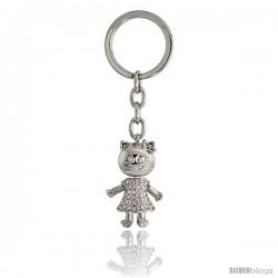 "Movable Kitty Cat Key Chain, Key Ring, Key Holder, Key Tag, Key Fob, w/ Brilliant Cut Swarovski Crystals, 3-3/4"" tall"