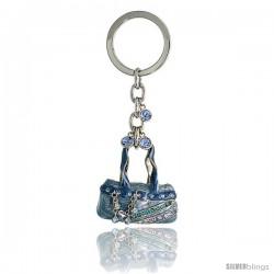 Blue Purse Hand Bag Key Chain, Key Ring, Key Holder, Key Tag, Key Fob, w/ Brilliant Cut Blue Topaz-color & Aquamarine-color