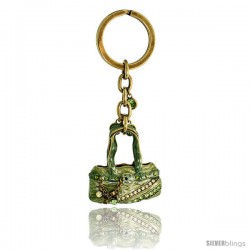 Green Purse Hand Bag Key Chain, Key Ring, Key Holder, Key Tag, Key Fob, w/ Brilliant Cut Peridot-color & Yellow Topaz-color