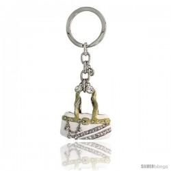 """White Purse Hand Bag Key Chain, Key Ring, Key Holder, Key Tag, Key Fob, w/ Brilliant Cut Swarovski Crystals, 4"""" tall"""