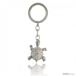 "Turtle Tortoise Key Chain, Key Ring, Key Holder, Key Tag, Key Fob, w/ Brilliant Cut Swarovski Crystals, 3"" tall"