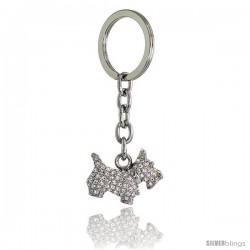 "Scottish Terrier Dog Puppy Key Chain, Key Ring, Key Holder, Key Tag, Key Fob, w/ Brilliant Cut Swarovski Crystals, 3"" tall"