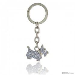 Scottish Terrier Dog Puppy Key Chain, Key Ring, Key Holder, Key Tag, Key Fob, w/ Brilliant Cut Blue Topaz-color Swarovski