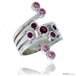 Highest Quality Sterling Silver 1 in (26 mm) wide Right Hand Ring, Brilliant Cut Ruby & Pink Tourmaline-colored CZ Stones