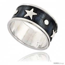 Sterling Silver Southwest Design Star Ring Handmade 1/2 in wide