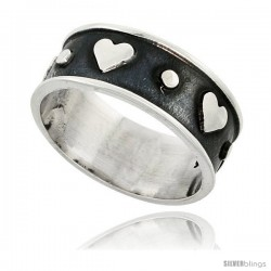 Sterling Silver Southwest Design Heart Ring Handmade 1/2 in wide