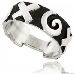 Sterling Silver Southwest Design Ring Hugs and Kisses Pattern 3/8 in wide