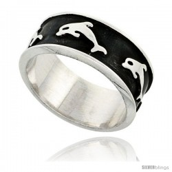 Sterling Silver Southwest Design Dolphin Ring 3/8 in wide