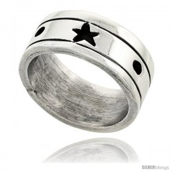 Sterling Silver Southwest Design Star Ring 3/8 in wide