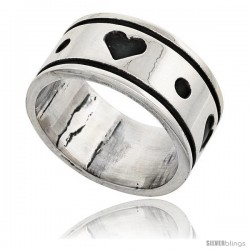 Sterling Silver Southwest Design Heart Ring 3/8 in wide