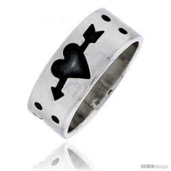 Sterling Silver Southwest Design Heart with Arrow Ring 5/16 in wide
