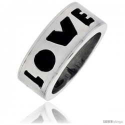 Sterling Silver Southwest Design LOVE Ring 5/16 in wide