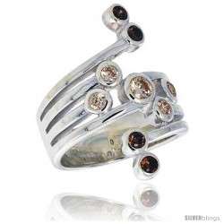 Highest Quality Sterling Silver 1 in (26 mm) wide Right Hand Ring, Brilliant Cut Smoky Topaz-colored CZ Stones