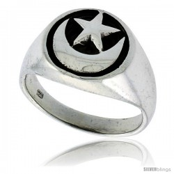 Sterling Silver Crescent Moon & Star Ring 1/2 in wide