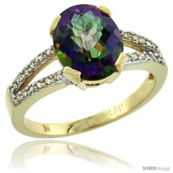 14k Yellow Gold and Diamond Halo Mystic Topaz Ring 2.4 carat Oval shape 10X8 mm, 3/8 in (10mm) wide
