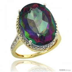 14k Yellow Gold Diamond Mystic Topaz Ring 13.56 Carat Oval Shape 18x13 mm, 3/4 in (20mm) wide