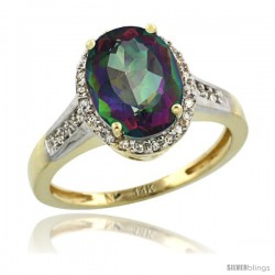 14k Yellow Gold Diamond Mystic Topaz Ring 2.4 ct Oval Stone 10x8 mm, 1/2 in wide