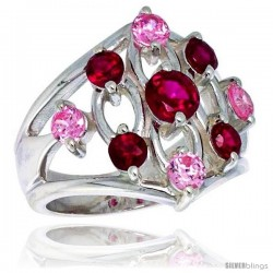 Highest Quality Sterling Silver 3/4 in (21 mm) wide Diamond-shaped Right Hand Ring, Brilliant Cut Ruby & Pink