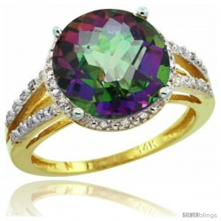 14k Yellow Gold Diamond Mystic Topaz Ring 5.25 ct Round Shape 11 mm, 1/2 in wide