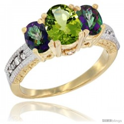 14k Yellow Gold Ladies Oval Natural Peridot 3-Stone Ring with Mystic Topaz Sides Diamond Accent